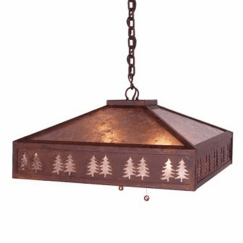 Rustic Lodge Swag Meadow Band of Trees Pendant Light