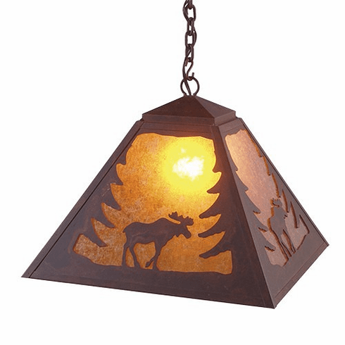 Rustic Lodge Swag Moose Pendant Light