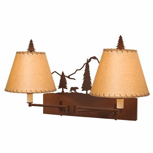 Rustic Lodge Timber Ridge Bear Double Swing Arm Wall Light