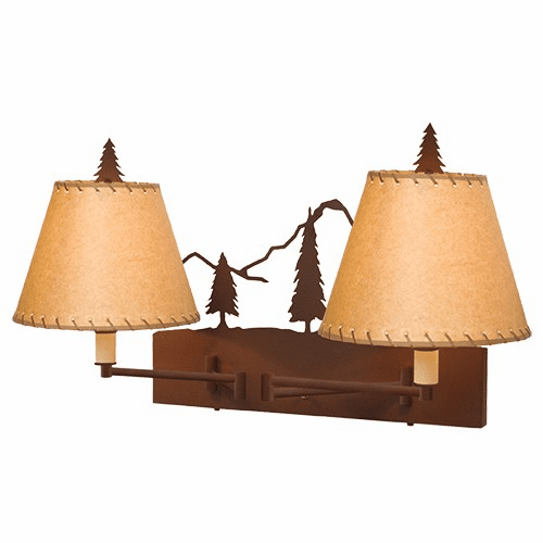 Rustic Lodge Timber Ridge Double Swing Arm Wall Light