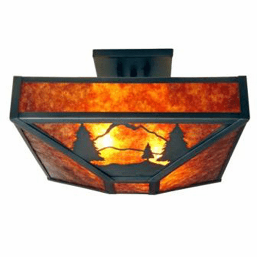 Rustic Lodge Timber Ridge Four Post Drop Ceiling Light