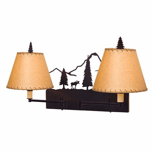 Rustic Lodge Timber Ridge Moose Double Swing Arm Wall Light