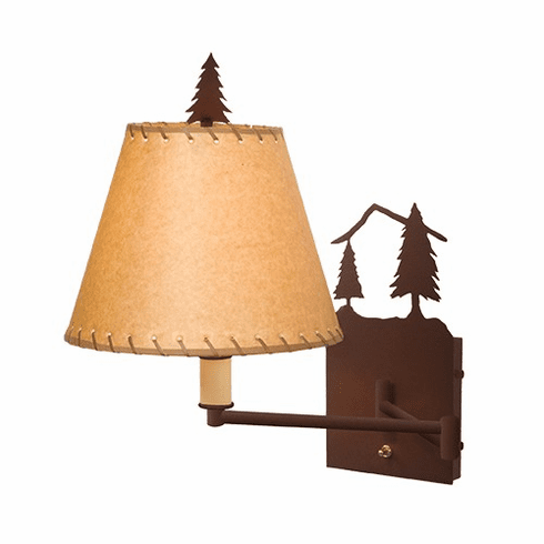 Rustic Lodge Timber Ridge Single Swing Arm Wall Light