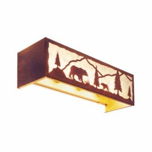 Rustic Lodge Timber Ridge with Bear 4 Light Vanity Light