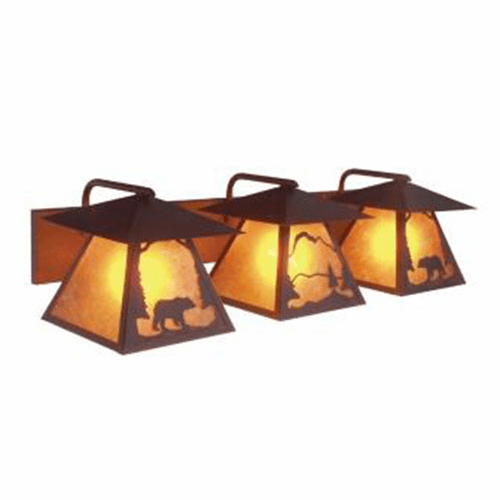 Rustic Lodge Triple Prairie Bear Vanity Light