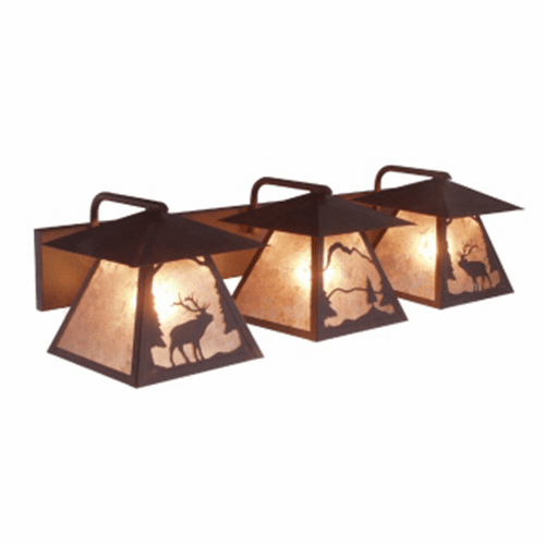 Rustic Lodge Triple Prairie Wapiti Vanity Light