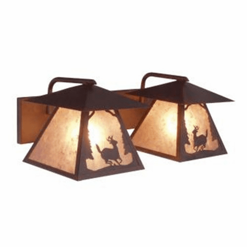 Rustic Lodge Twin Prairie Deer Vanity Light