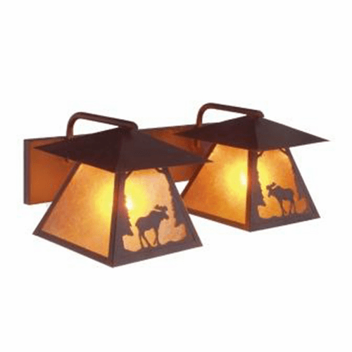 Rustic Lodge Twin Prairie Moose Vanity Light