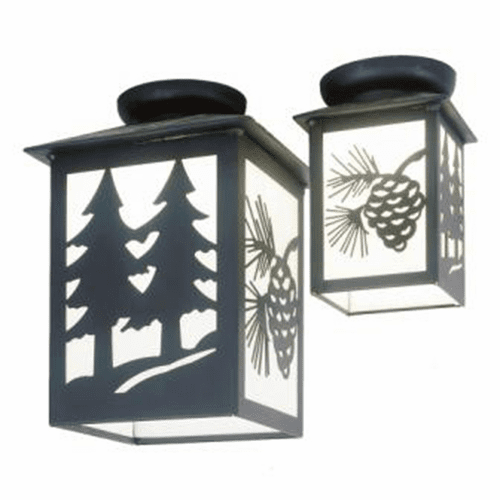 Rustic Lodge Twin Tree Small Porch Ceiling Light