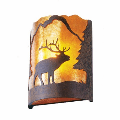 Rustic Lodge Wapiti Timber Ridge Wall Sconce