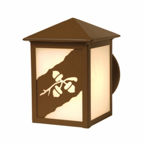 Rustic Lodge Wet Location Acorn Trilogy Small Peaked Wall Sconce