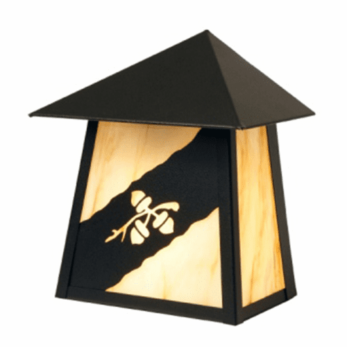 Rustic Lodge Wet Location Acorn Trilogy Tri Roof Wall Sconce
