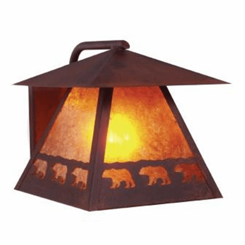 Rustic Lodge Wet Location Band of Bears Wetlo Wall Sconce
