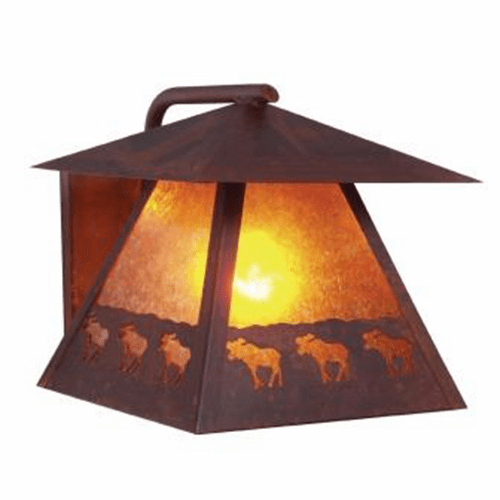 Rustic Lodge Wet Location Band of Moose Wetlo Wall Sconce