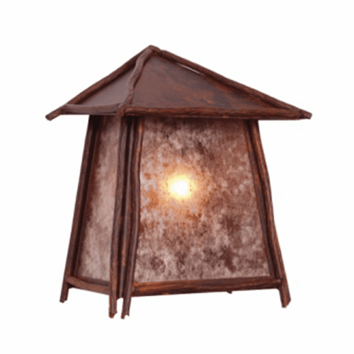 Rustic Lodge Wet Location Bundle Of Sticks Tri Roof Wall Sconce