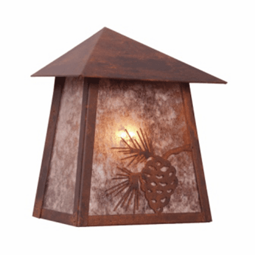 Rustic Lodge Wet Location Mission Tri Roof Wall Sconce