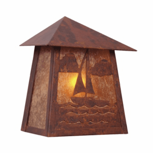 Rustic Lodge Wet Location Nantucket Tri Roof Wall Sconce