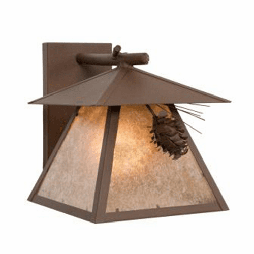 Rustic Lodge Wet Location Ponderosa Pine Cascade Wall Sconce