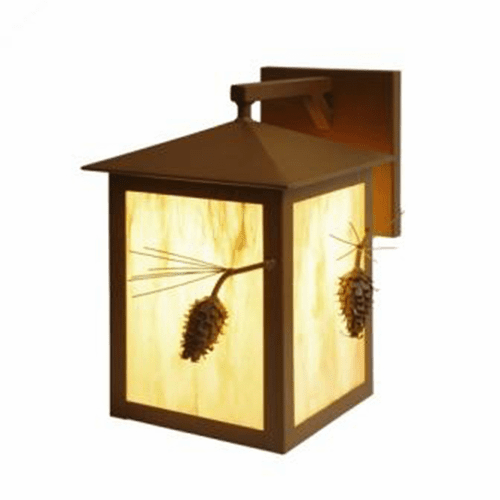 Rustic Lodge Wet Location Ponderosa Pine Large Wet Wall Sconce