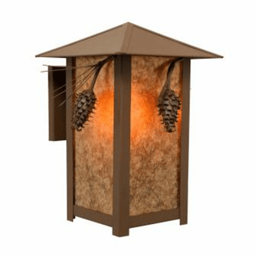 Rustic Lodge Wet Location Ponderosa Pine Ridge Top Wall Sconce