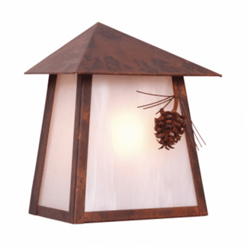 Rustic Lodge Wet Location Ponderosa Pine Tri Roof Wall Sconce
