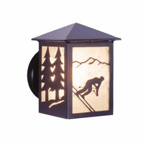 Rustic Lodge Wet Location Skier Small Peaked Wall Sconce