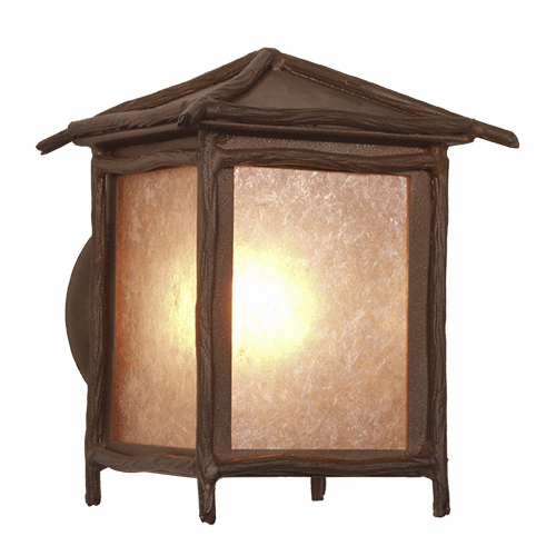 Rustic Lodge Wet Location Sticks Large Peaked Wall Sconce