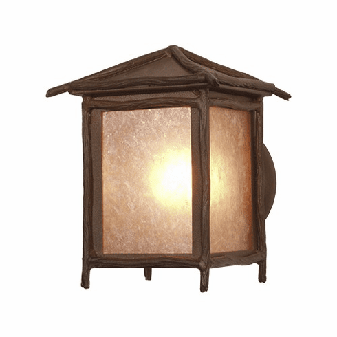 Rustic Lodge Wet Location Sticks Small Peaked Wall Sconce