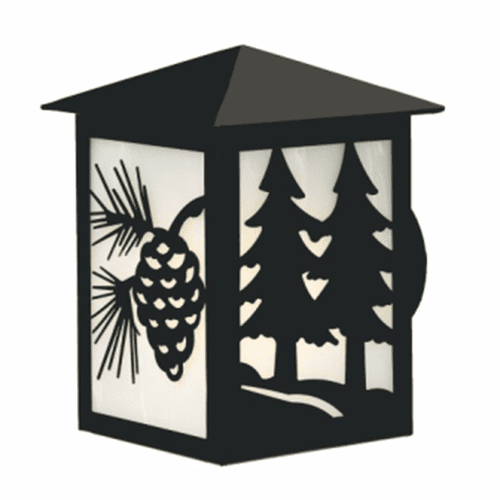 Rustic Lodge Wet Location Twin Tree Large Peaked Wall Sconce