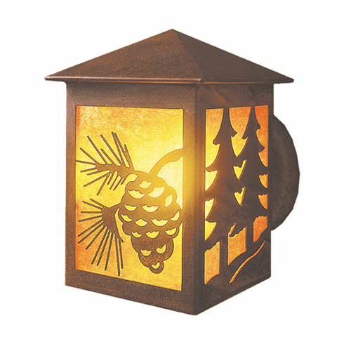 Rustic Lodge Wet Location Twin Tree Small Peaked Wall Sconce