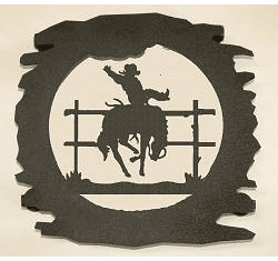 Rustic Metal Trivet - Bucking Bronco Design