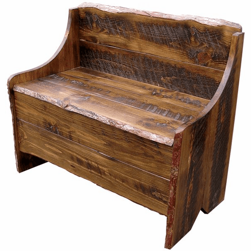 Astonishing Rustic Pine Bench With Storage 36 Inch Wide Machost Co Dining Chair Design Ideas Machostcouk