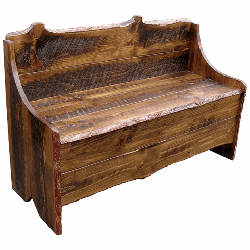 Tremendous Rustic Pine Bench With Storage 48 Inch Wide Machost Co Dining Chair Design Ideas Machostcouk