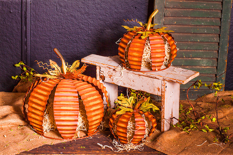 Rustic Rippled Pumpkins - three assorted