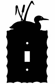 Rustic Scalloped Loon with Cattails Switch/Wall Plate in 12 Styles