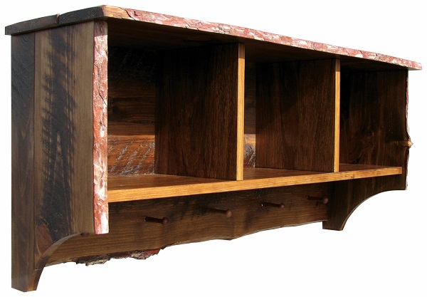 Rustic Shelf with Storage Cubbies, 48 inch wide
