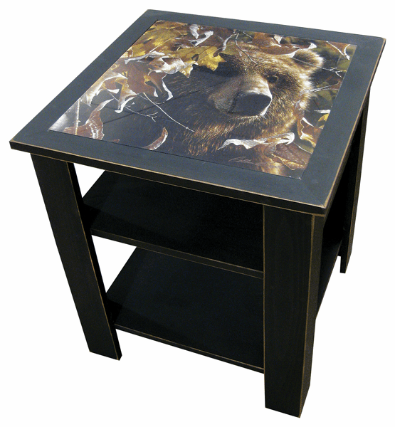 Rustic Wildlife Side Table with Shelf