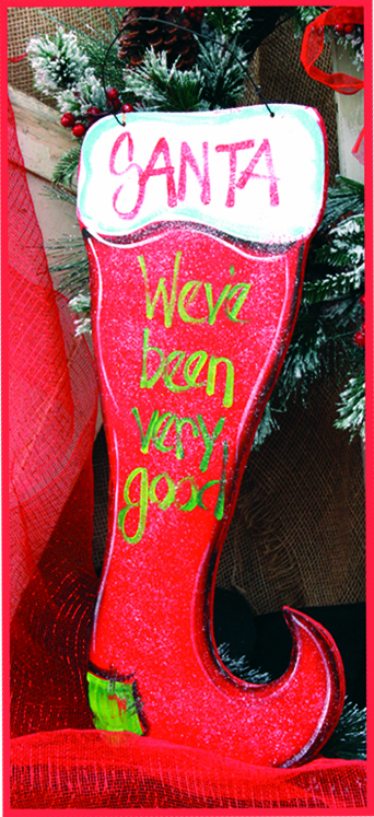 Santa We've Been Very Good Red Merry Christmas Wall Hanging, 12in x 24in