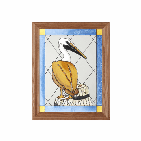 Seabirds Pelican on a Pier Stained Glass Art Glass