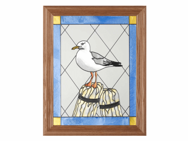 Seabirds Seagull on a Pier Stained Glass Art Glass