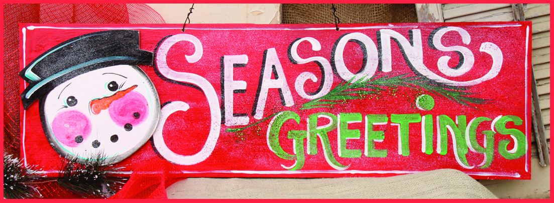 Seasons Greeting Red Merry Christmas Wall Hanging, 32in x 14in