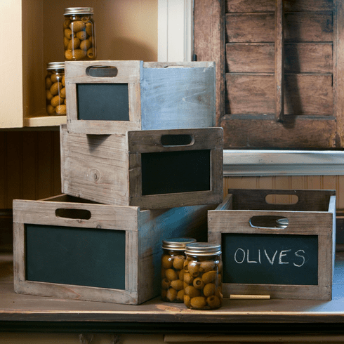 Set of 4 Produce Crates, with Blackboard