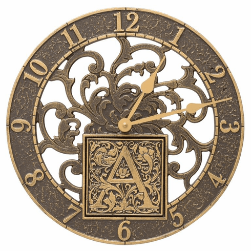Silhouette Monogram 12 inches Personalized Indoor Outdoor Wall Clock - French Bronze