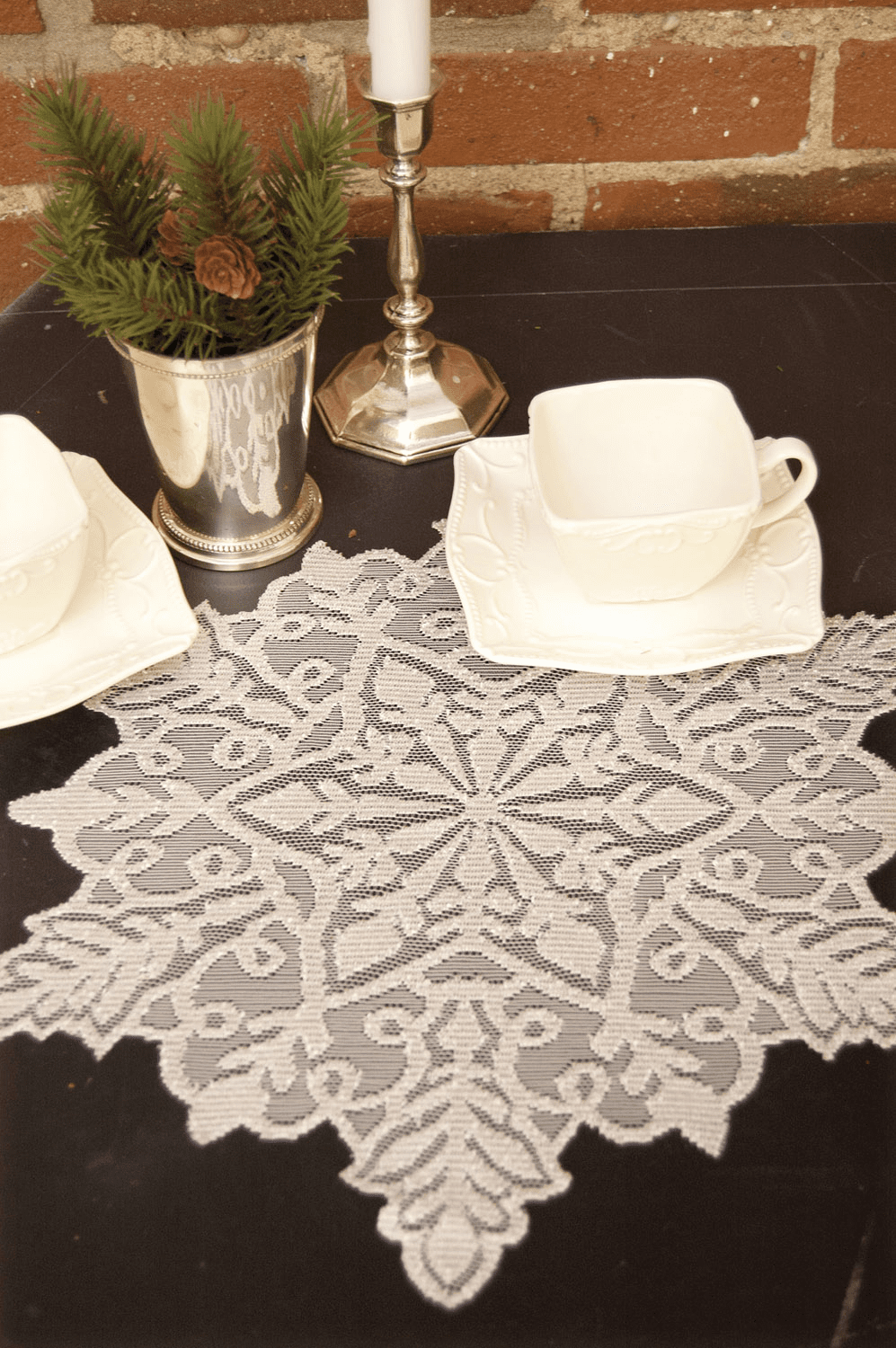 Silver Snowflake Doily, set of 6