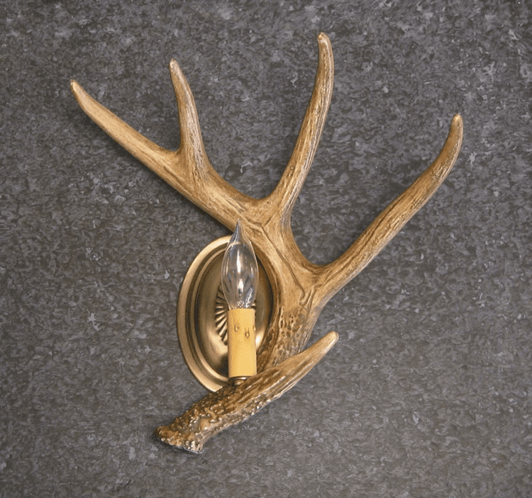 Single Whitetail Antler Wall Sconce - Rustic Accent Lighting