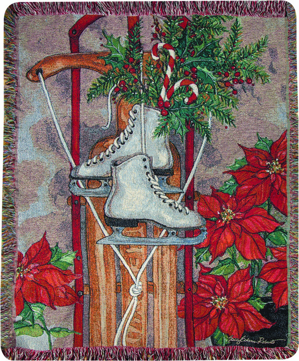 Skates and Sleds Tapestry Throw