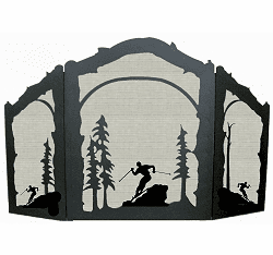 Skier Arched or Straight Fireplace Screen