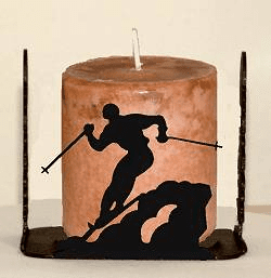Skier Four Sided Candle Holder
