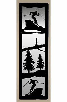 Skier Large Accent Mirror Wall Art
