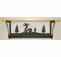 Skier Rustic Towel Bar with Shelf